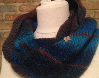 Striped blue & brown scarf