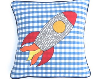 Rocket Cushion Cover, Boys Bedroom, Children's Cushion Cover, Bedroom Cushion, Cot Cushion, Boys Pillow, Blue Cushion Cover