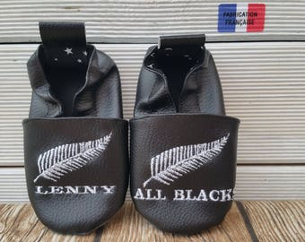 Slippers soft leather, leatherette shoe baby Bootie boy, girl, kids slippers, slippers custom slippers, rugby allblacks