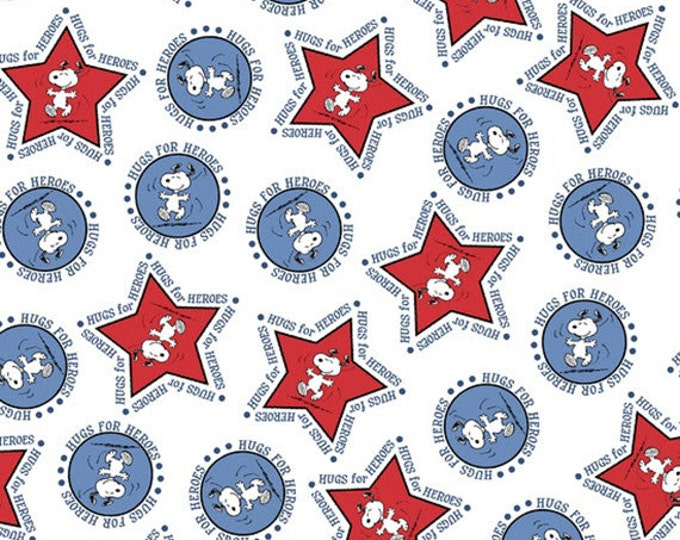 3/4 Yard REMNANT Peanuts - Hugs for Heroes - Snoopy Stars and Circles in White - Cotton Quilt Fabric - Quilting Treasures - 22772-Z (W3107)
