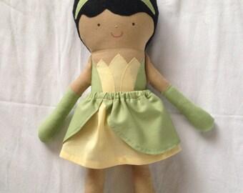 Princess Tiana fabric doll, Stuffed toy, Girl doll,