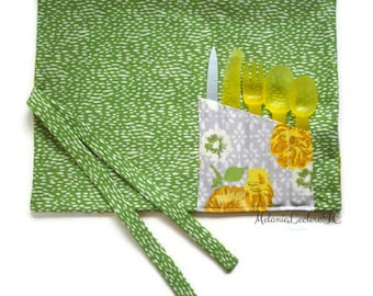 Practical placemat with utensils holder pouch - yellow flowers on gray and green