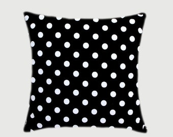 """Cotton Black Throw pillow case with white Polka Dots and same cotton back side, fits 20"""" x 20"""" insert,  Cushion case, Toss pillow case."""
