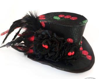 Adorable Black Satin Cherry Gothic Lolita Mini Top Hat - Mad Hatter, Steampunk Wedding, Victorian Wedding, Derby Facinator