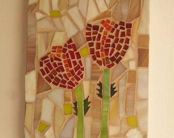 Wall Decor, Flower, Mosaic, Glass, Hang Wall, Ornament, Gift, Flowers Decor, Israel Art, Free Shipping