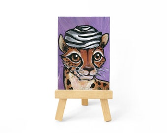 Cheetah Art, ACEO Original, Cat Painting, Zebra Print Fur Hat, Anthro Artwork, Big Cats, Animal Lover, Miniature Art