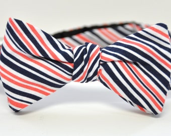 Men's Bow Tie in Coral and Navy Striped Cotton Freestyle Groomsmen Bowtie Self Tie Necktie Coral Wedding