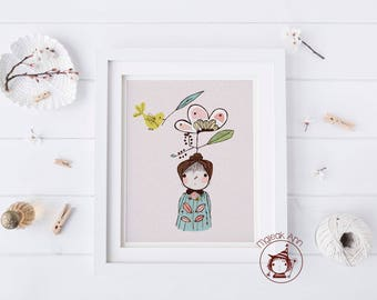 AVA -Nursery Decor - Fine Art print - baby decor - adorable whimsical nature love baby girl and bird illustration