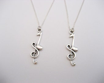 Quarter Note Necklace, Music Note Necklace Set, Best Friends Necklace, Treble Clef Necklace, Music Lovers Necklace Set, Music Gift