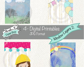 We Are 3 Digital Printables, Pre-Colored, Window Layers 2, ATC