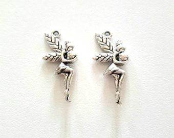 2 charms antique silver fairy pendant