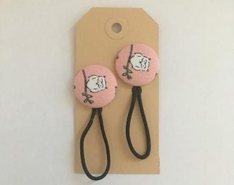 Owl fabric button hair elastic, hair bobble, stocking filler