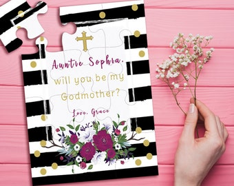 Will You Be My Godmother, Godmother Puzzle, Be My Godparent, Godmother Proposal, Baptism, Christening Invitation Card, Asking Godmother