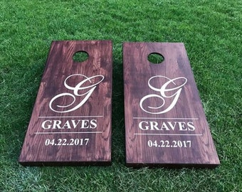 Custom Wedding Cornhole Boards - Custom Monogram Last Name & Date