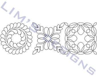 "Three Quilt Patterns N3 machine embroidery designs - 3 sizes 4x4"", 5x5"", 6x6"""