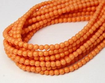 200/pc Pacifica Tangerine Czech 4mm Pressed Glass Round Beads
