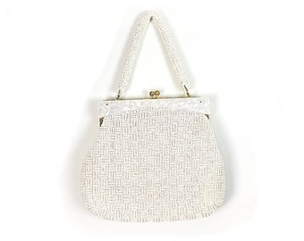 White purse,  White Bag, lucite purse, lucite bag, Vintage Purse, 1960s Bag, beaded bag, beaded purse, handbag 1960s Purse, mother of pearl