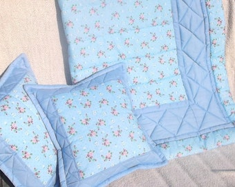 Vintage Rose Shabby chic Cot/ Cotbed Quilt and Cushion Covers