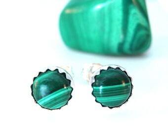 6mm Malachite Stud Earrings, Stud Earrings Etsy, Green Post Earrings Mens Unisex