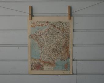 1938 Vintage Map of France