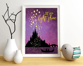 Tangled Poster with quote let your light shine