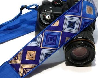 Camera Strap. DSLR Camera Strap. Gold Blue Camera Strap. Padded Camera Strap. Personalized Camera Strap. Camera Accessories