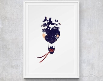 Drifting Towards Dreams on Blue Heart Hot Air Balloon Carried by Birds, Limited Edition Art Prints by CTIllustration