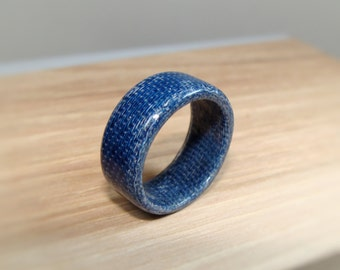 Blue Denim Ring - Blue Jean Ring - Solid Composite Ring - Denim Composite Ring - Denim Ring - Real Denim Ring