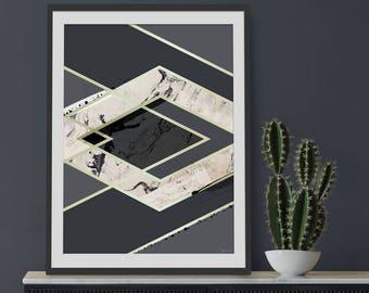 Abstract Print. Art Deco Print. Abstract Art. Geometric print. Wall Art. Wall Decor.