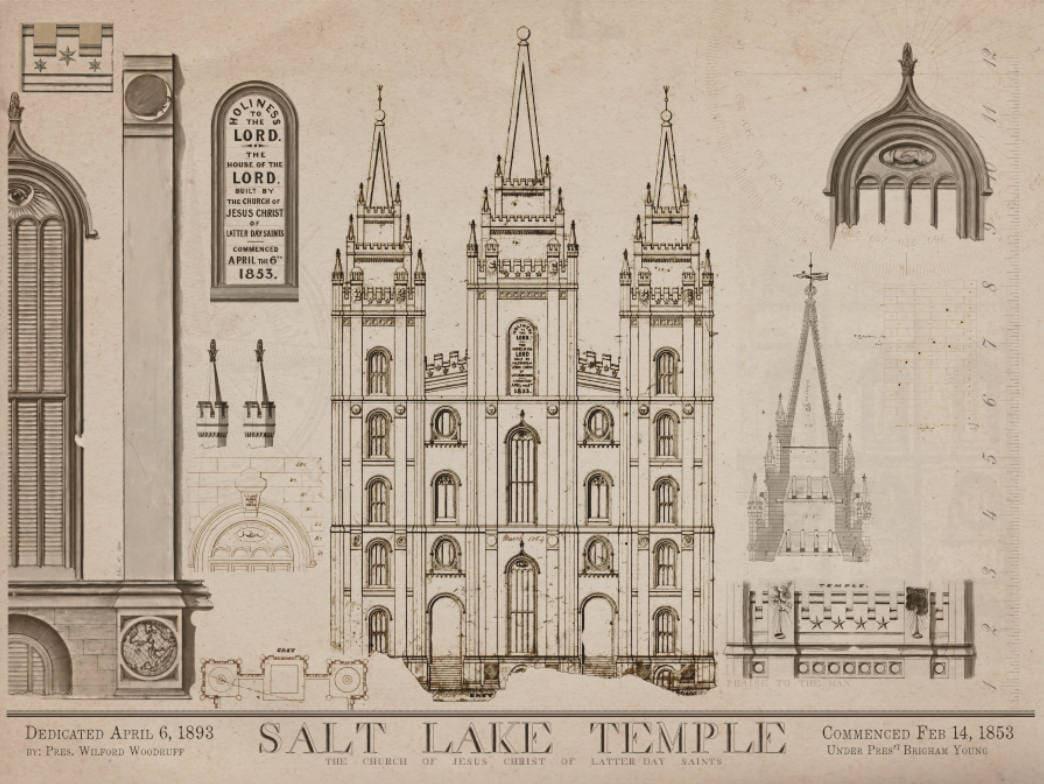 Salt Lake City Temple Blueprints 1856 Art Drawings Of Salt # Muebles En Salt Lake City Utah