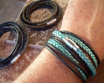 Leather Mens Bracelet, Womens Leather Bracelet, Leather Wrap Bracelet, Mens Jewelry, Womens Jewelry, Teal, Silver, Bronze, gift for him