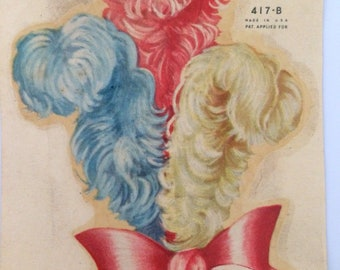 Vtg Plume Feathers Decals American Pink Blue White Decalcomania Transfers Decor