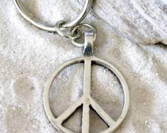 Pewter Peace Sign Love Hippie Yoga Namaste Meditation Keychain Key Ring (57G-KC)