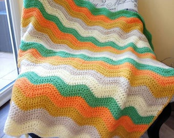 Colourful crochet ripple blanket, soft and chunky, ready to ship!