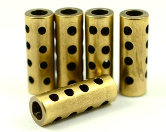 "10 Pieces Antiqued Brass 7x20 mm (9/32""x 25/32"" ) Industrial Punched Tube Spacers Connectors"
