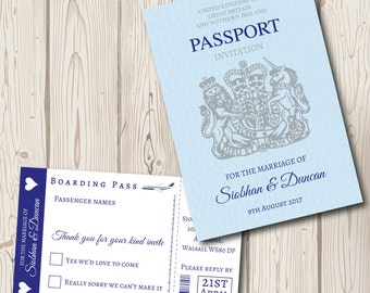 Passport Wedding Invitation with boarding pass rsvp, destination wedding, personalised and handmade, wedding abroad, beach wedding