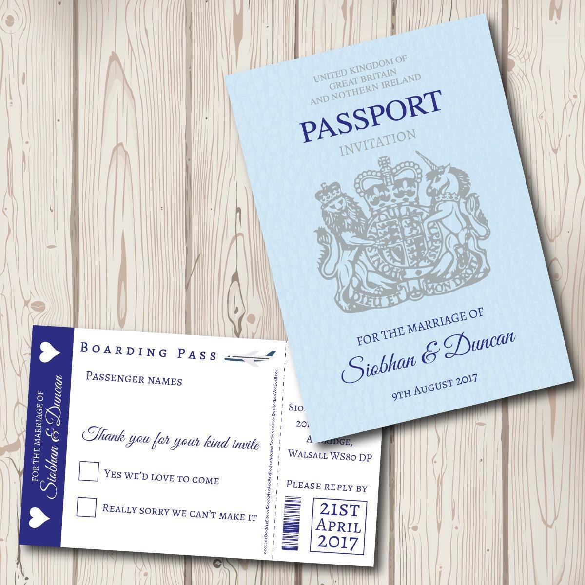 Passport Wedding Invitation with boarding pass rsvp