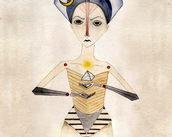 8x10 Watercolor Female Pyramid Giclee print painting geometric hands egyptian inspired