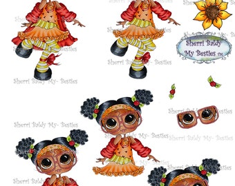 Instant Download 3D deco Card Toppers & Papers Bestie Mandy Big Head Dolls Digi By Sherri Baldy