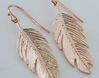 Rose Gold Earrings - Feather Earrings - Boho Earrings - Pink Gold Earrings - handmade jewelry