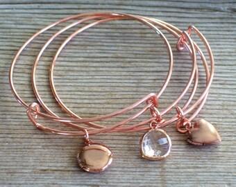 Rose Gold Locket Bracelet, Rose Gold Bangle Bracelet, Rose Gold Mini Locket,  Round Mini Locket, Heart Mini Locket, Layering Bangle