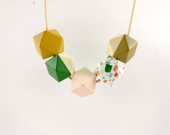 Geometric Necklace - Terrazzo, Green, Pink & Mustard | Statement Necklace | Gift for her | Geometric Jewellery | Beaded necklace | Terrazzo