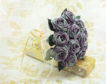 Origami Thistle Ombre Fabric Rose Bouquet in Color Purple (1 Dozen Gift Wrapped) Anniversay Gift, Valentines day gift, Party favors