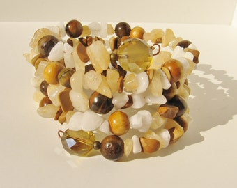 Honey Cream Memory Wire Bracelet