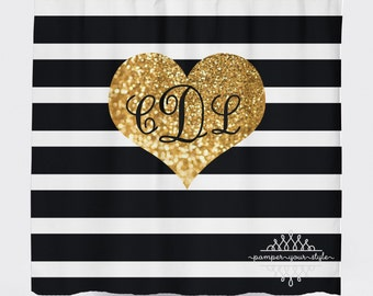 Black and Gold Personalized Shower Curtain - Simulated Gold Glitter and Black Stripes Monogrammed Shower Curtain