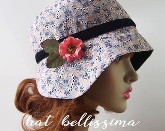 ALE  1920s Cloche Hat  flowers  cotton  fabric Vintage Style hat hatbellissima Summer Hats Hats with a Brooch