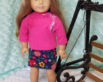 Pink Turtleneck shirt with Navy School Skirt Outfit - American Girl & Friends