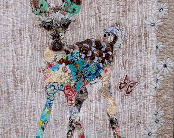 MarveLes PAPER Pattern for Collage Quilt JUNE BABY Bambi Fawn Nature Baby Deer Forest Western Pink Turquoise Brown Beige Tan