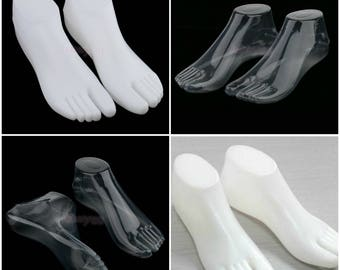 Adult Sandals Plastic Forms Display Shoes White or Clear Barefoot Sandals, Thong Style Sandals, Ring Style Shoes