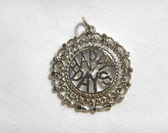 Happy Days Charm Solid Sterling Silver .925 Filigree -A3